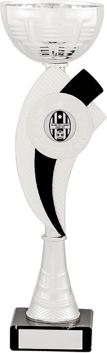 Silver/Black With Curve Emblem Cup Trophy