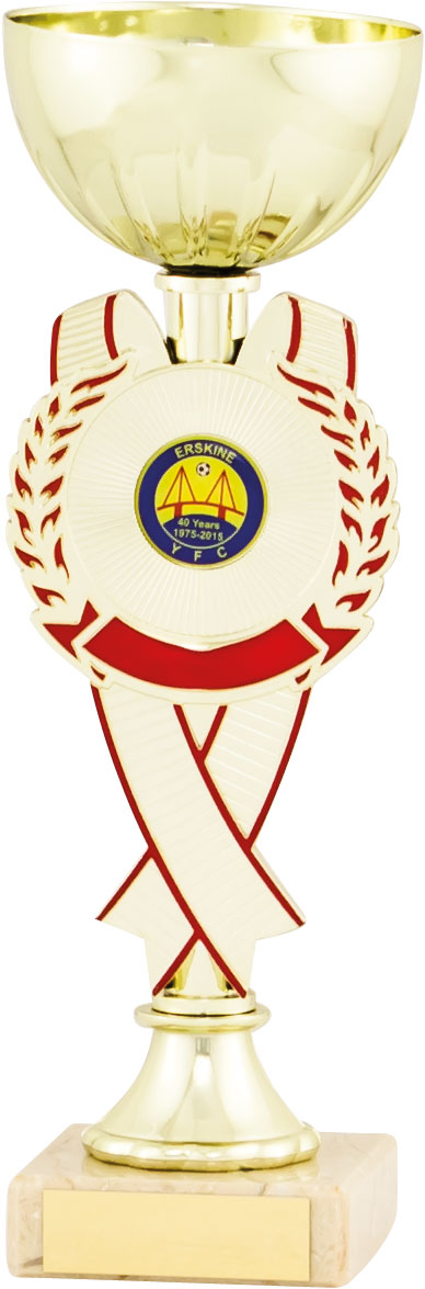 Gold Cup With Red/Gold Rosette Trophy