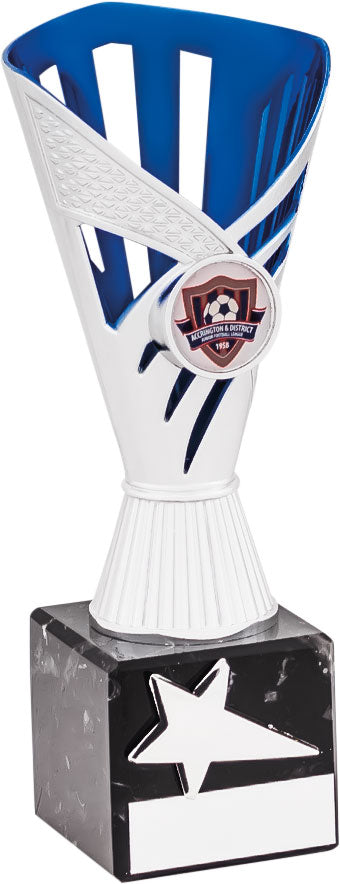 Silver/Blue Cup Trophy Tall
