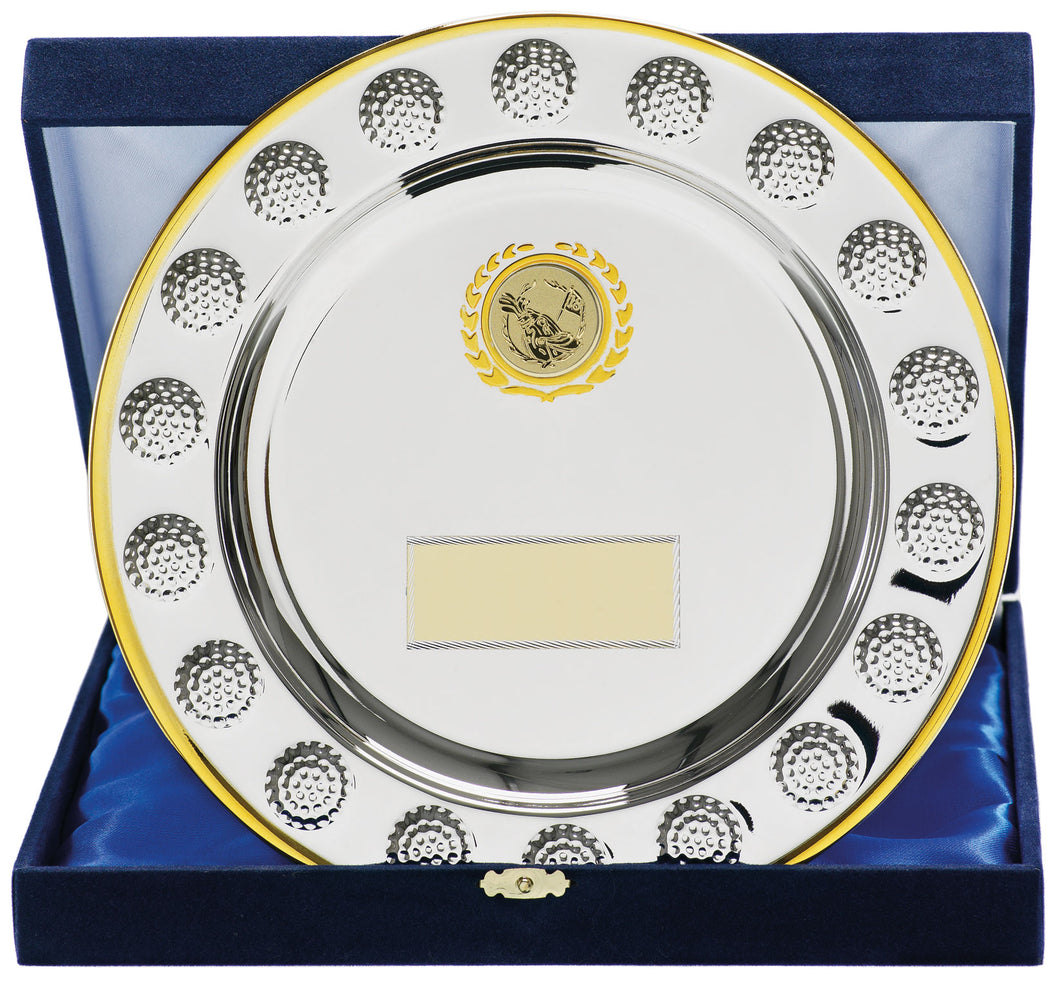 Silver With Gold Trim Salver Trophy