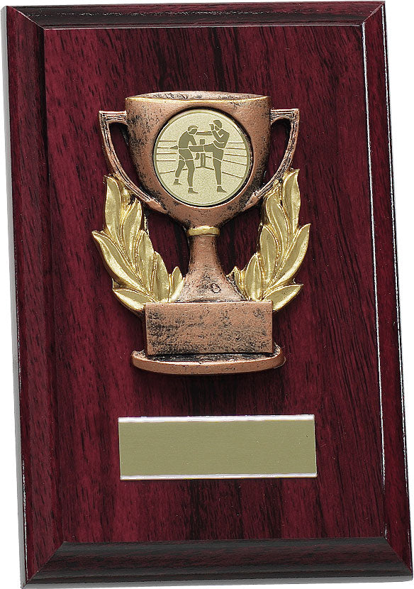 Red Wood Cup Plaque Trophy