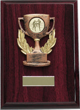 Load image into Gallery viewer, Red Wood Cup Plaque Trophy