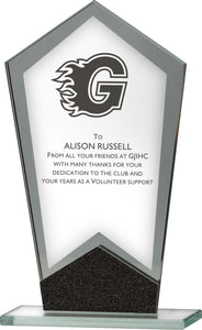 Glass With Black Plaque Trophy
