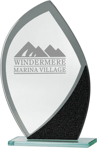 Glass With Black Flame Shape Plaque Trophy