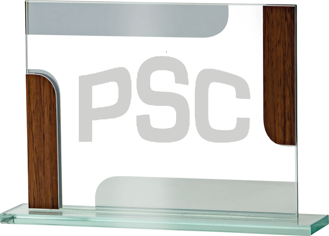 Glass With Wood Plaque Trophy