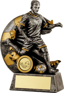 Silver female Player Burst Ball Football Trophy