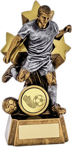 Gold and Silver Football Player and Star Trophy