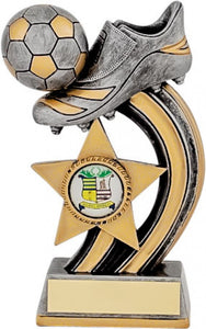 Grey and Gold Boot and Star Football Trophy