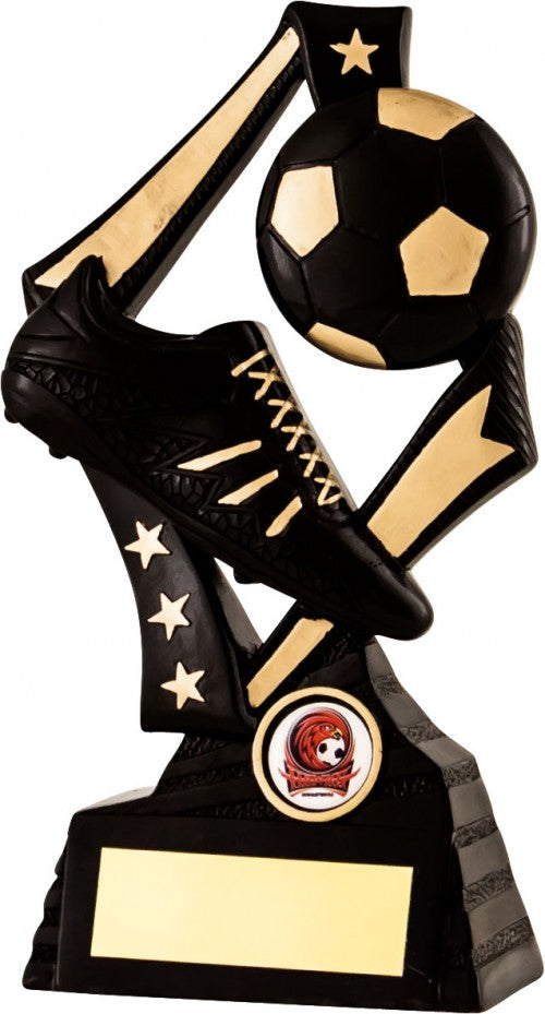 Black and Gold Boot and Ball Football Trophy