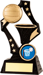 Black With Gold Ball Netball Trophy