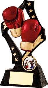Red Boxing Glove Black base with Stars Trophy