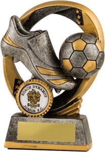 Dark Grey and Gold Boot and Ball Football Trophy