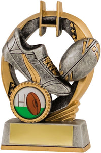 Dark Grey and Gold Boot and Ball Rugby Trophy