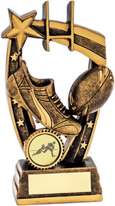 Bronze Boot & Ball Rugby Trophy