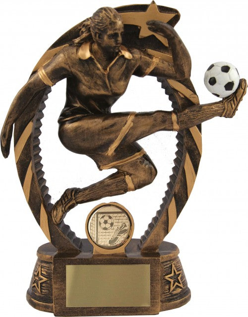 Gold Female Player Kick Football Trophy