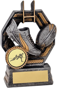 Gold/Grey Boot & Ball Rugby Trophy