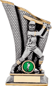 Silver Holding Bat Cricket Trophy