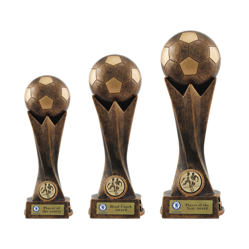 Bronze/Gold Crown Football Trophies (Set of 3)