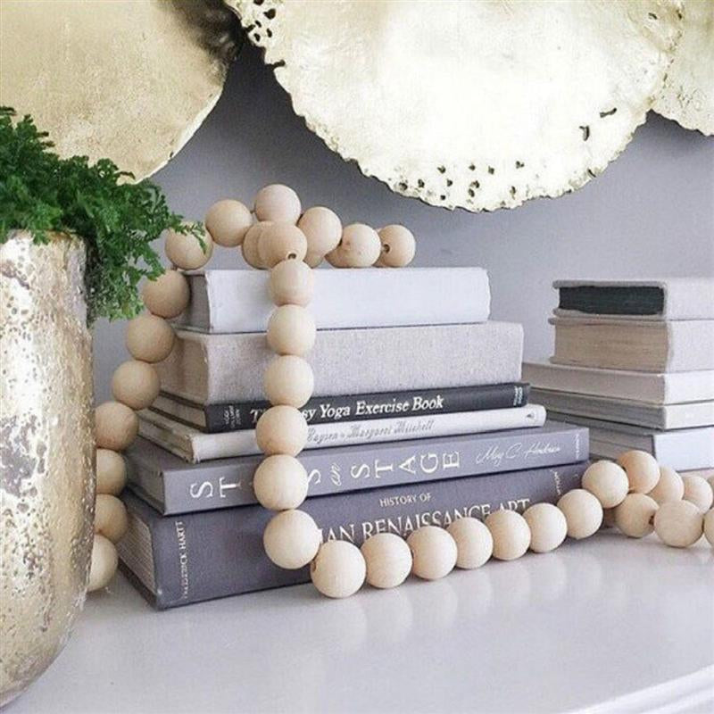 Rustic Natural Wood Bead Garland with Tassels