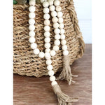 Load image into Gallery viewer, Rustic Natural Wood Bead Garland with Tassels
