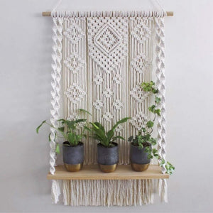 Macrame Plant Shelf Wall Hanging Tapestry