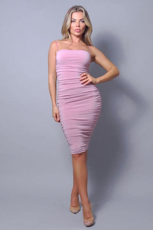 'Kayla' Ruched Bodycon Midi Dress - Pink - Bonny Flair