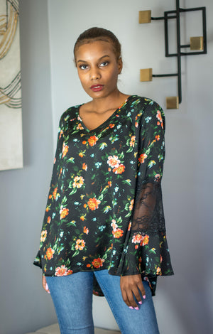 Floral Blouse with Lace Detail Tops Bonny Flair