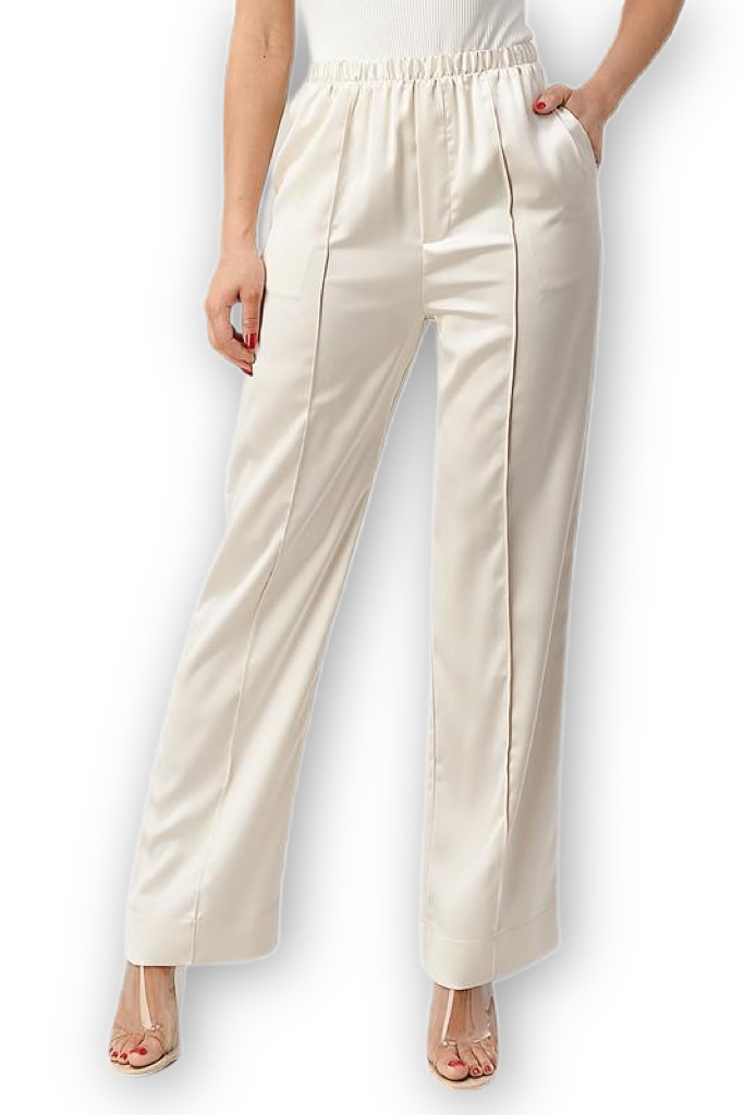 'Angela' Satin Pants - Cream - Bonny Flair
