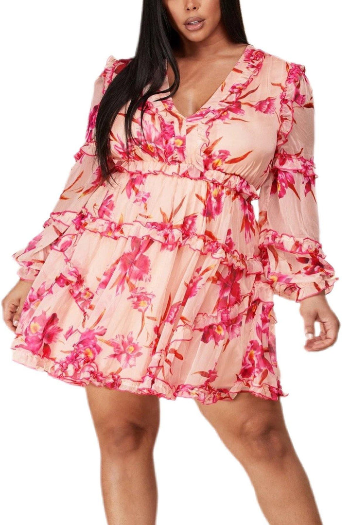 Summer Breeze Long Sleeve Floral Dress - Bonny Flair - Dress