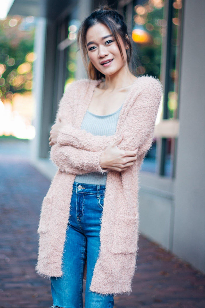 Fuzzy Cardigan with Pockets - Bonny Flair