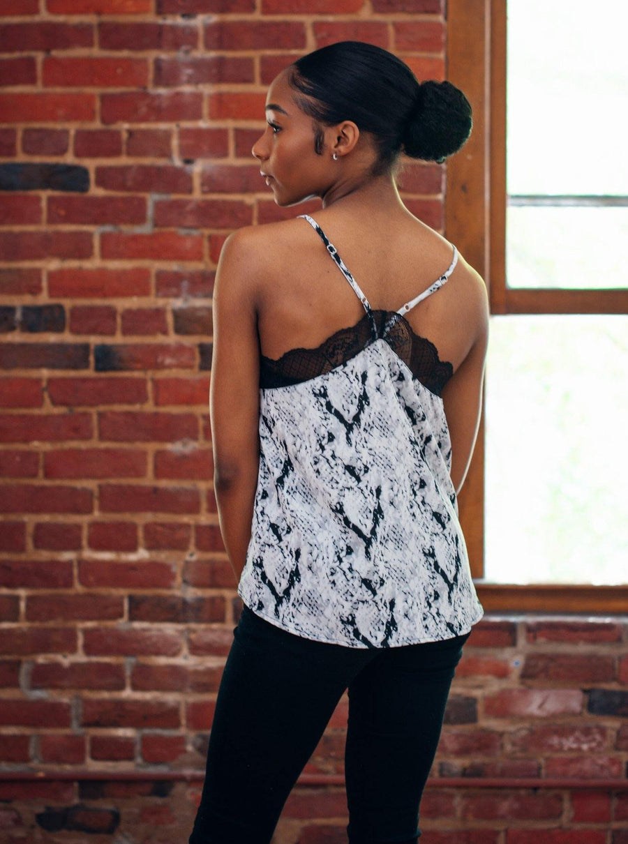 Snake Print Lace Cami - Bonny Flair - Top