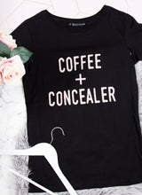 Load image into Gallery viewer, COFFEE + CONCEALER Breastfeeding T-shirt (Black) - The Milky Tee Company