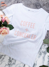 Load image into Gallery viewer, COFFEE + CONCEALER Breastfeeding T-shirt (White) - The Milky Tee Company