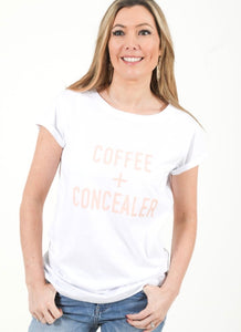 COFFEE + CONCEALER Breastfeeding T-shirt (White) - The Milky Tee Company