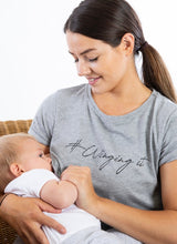 Load image into Gallery viewer, Grey WINGING IT Breastfeeding T-shirt (Black Print) - The Milky Tee Company