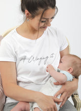 Load image into Gallery viewer, WINGING IT breastfeeding T-shirt (white) - The Milky Tee Company