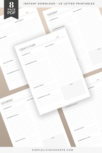 Graphic stating that this daily planner printable is an eight-page PDF, showcasing papers with headers like today's plan and the days of the week. The printable daily planner pages showcased are designed to help clarify priorities to ensure the user is meeting goals and setting healthy boundaries for an intentional life.