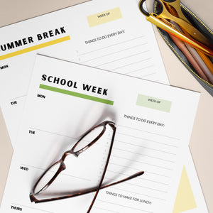 Reusable School-Week Planner For Kids, Teens & Families