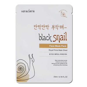 [Veraclara] Prime Facial Mask (10 Counts ) Korean Skincare | Lighten, Moisturize, Firming Skin | Diminish Dark Spot & Circles - Black Snail
