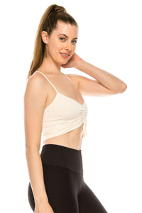 CROP BRA CAMI WITH DRAWSTRING