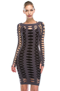 BIG HOLE FISHNET DRESS