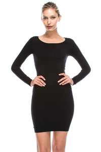 QUARTER SLEEVE SCOOP NECK DRESS