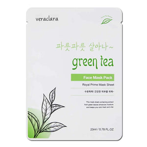 [Veraclara] Prime Facial Mask (10 Counts ) Korean Skincare | Lighten, Moisturize, Firming Skin | Diminish Dark Spot & Circles - GreenTea
