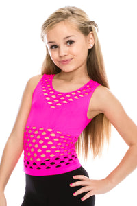 KIDS SLEEVELESS BRA COVERED CROP TOP