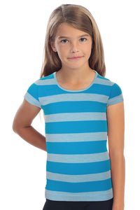 KIDS HEATHER STRIPE SHORT SLEEVE TOP