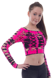 TIE DYE FISHNET CROP TOP