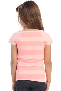 KIDS HEATHER STRIPE RAGLAN SHORT SLEEVE TOP