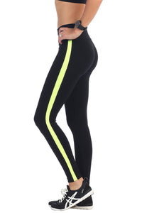VERTICAL LINE AND COLOR BAND CALF LEGGINGS