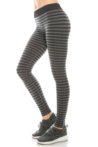 HEATHER WIDE BAND STRIPE LEGGINGS