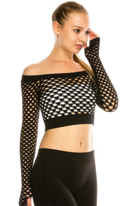 CROP FISHNET TOP